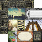 Paper House NEW YORK CITY TAGS 12x12 Dbl Sided Printed Cardstock 3x4 4x6 Cards