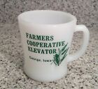 Vintage FIRE-KING D-Handle FARMERS COOP ELEVATOR George, Iowa COFFEE MUG