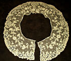 Antique Victorian Irish Hand Made Carrickmacross Floral Lace Tulle Ruffle Collar