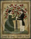 Primitive Fraktur Folk Art Hand to Hand Heart to Heart Colonial Print 8x10