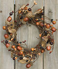 Country Mix Acorn Wreath 8 Fall Autumn Leaves Colored Berries Pip Berry