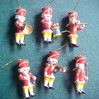 6 Vintage Miniature Wooden Soldier Marching Band Christmas Ornaments