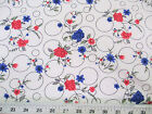Discount Fabric Challis Rayon Pink and Blue Floral on Bubbles 2 yds  699 K201
