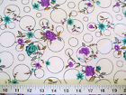 Discount Fabric Challis Rayon Purple  Teal Floral on Bubbles 2 yds  699 K203