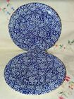 Set 2 Queens Calico Blue & White Floral Chintz 10-3/4
