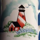 3 EUC Corelle OUTER BANKS Corning Dishes Coffee Tea Cups Mugs Lighthouse Beach