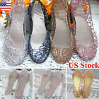 Summer Women Hot Ventilate Crystal Shoes Jelly Hollow Glitter Sandals Flat Shoes