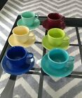 12 PC. LOT Fiesta Fiestaware Coffee cups Mugs WITH SAUCERS Assorted Colors EUC