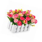 Louis Garden Artificial Flowers Fake Rose in Picket Fence Pot Pack Mini Potted