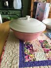 Fiesta Covered Vegetable Dish Rose W/White Lid Used