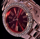 Excellanc Damen Armband Uhr Bordeaux Rot Rose Gold Farben Metall Strass