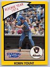 1990  ROBIN YOUNT - Kenner Starting Lineup Card - MILWAUKEE BREWERS - (Yellow)