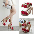 Womens Stiletto Flower Strappy Sandal Open Toe Lace Up High Heel Shoes Red Rose
