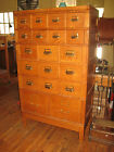Antique Oak Card Catalog Stacking File Cabinet Chest 19 Drawers Artist Crafts