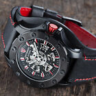 DETOMASO ROTORE Mens Watch Automatic Stainless Steel Black Red Leather Band New