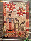SUNFLOWER VINTAGE QUILT PATTERN FALL AUTUMN GARDEN SCARECROW BLACKBIRD HOMESPUN