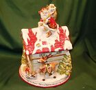 FITZ AND FLOYD ST NICK COOKIE JAR CHRISTMAS SANTA CENTERPIECE