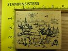 Rubber Stamp Deer Rabbits Looking At Star Northwoods Nature Stampinsisters 977
