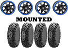 Kit 4 ITP BajaCross Tires 28x10-14 on STI HD5 Beadlock Blue Wheels 1KXP