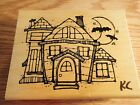 DJ Inkers Wood Mounted Rubber Stamp Halloween Spook House R15 New