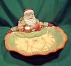 FITZ AND FLOYD SANTA SERVER COOKIE DISH BELLACARA CHRISTMAS CENTERPIECE BOWL