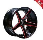 20 Staggered or Non Staggered M3226 Wheels Black with Red Milled Accents Rims