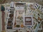 Lot of Scrapbooking Stickers Die Cuts Rub Ons Camping  Fishing 54 pcs
