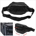 Portable Black Faux Leather Hiking Motorcycles ATV Men's Vintage Waist Pack Bag