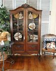 Antique French China Curio Bookcase Carving Shells Old Galls Adj Shelves Old Oak