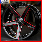 20 MQ 3226 WHEELS BLACK RED MILLED ACCENTS RIMS 5x1143 FIT FORD MUSTANG