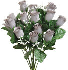 14 Roses Buds MANY COLORS Bouquets Wedding Centerpieces Silk Flowers Bride