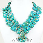 Gorgeous Blue Flower Turquoise Teardrop Necklace Silver Clasp 18 FREE SHIPPING