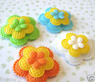 US SELLER 40pc x 125 Padded 3 Layer Felt Flower Appliques for Bow Card ST483B
