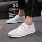 Brogue shoes Mens Wing Tip Breathable sneaker Plate shoes Lace Up Low Top Casual