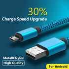 3 6 10ft Aluminum Braided Micro USB DataSync Charger Cable For Android Phones