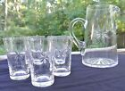 Atomic Starburst Pitcher Etched Clear Glass and 5 Drinking Glasses