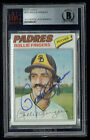 Rollie Fingers #523 signed autograph auto 1977 Topps Baseball Card BAS Slabbed