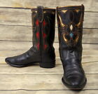 Vintage Cowboy Boots Steer Head Acme Red Turquoise Gold Kids Size 4 Western Old