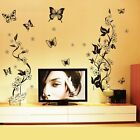 Butterflies with Flower Vines Removable Wall Sticker Home Room Mural Art Decor