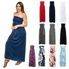 Womens Strapless Maxi Dress Plus Size Tube Top Long Skirt Sundress Cover Up