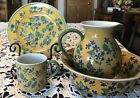 Vintage Designer April Cornell Pitcher Bowl Plate Cup RN77578 Yellow Floral Blue