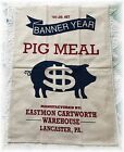Banner Year Pig Meal Feed Sack Tea Dish Towel Cotton Lancaster PA S/2 Primitive