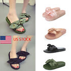 US Womens Grils Bow Slippers Sandals Luxury Slides Flip Flops Casual Solid Shoes