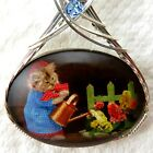 Cat Gardening Glass Cabochon Cameo Pendant 925 Sterling Silver Jewelry Black
