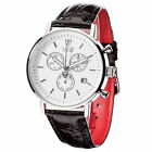 DETOMASO Milano Mens Classic Wrist Watch Chronograph Stainless Steel White New