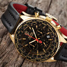 DETOMASO FIRENZE XXL Mens Watch Chronograph Gold Plated Stainless Steel Black