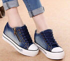 Fashionable Girls Lace Up Sneakers Platform Wedge Heels Denim Canvas Shoes New