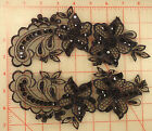4 amazing beaded sequins black applique pairs embroidered 2 flower design 11x3