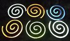 6 PCS Dichroic FIRETHINGS ROUND SPIRAL 90 COE VARIOUS SHIFTS on Thin Black Glass