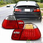 2002 2005 BMW E46 320i 325i 330i 3 Series Sedan Red Clear LED Tail Lights 02 05